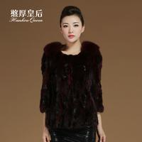 Queen 2014 fox wool mink hair leather overcoat fur coat female