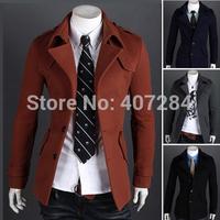 Male casual woolen single breasted outerwear epaulette men trench coat men overcoat