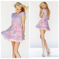Free Shipping Gorgeous Sweetheart Short/Mini Tank Lace V Back Party Cocktail Dress Prom Dress 2014 (MD 11063)