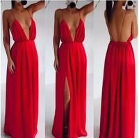 free shopping 2014 hot!!!Condole belt sexy dress Deep V scoop-back design open fork condole belt skirt