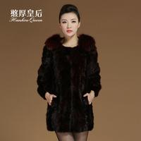 Queen 2014 fox wool medium-long mink hair leather overcoat women's fur coat