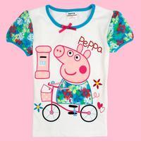 Baby Girls Tunic top Peppa pig embroidery summer short sleeve T-shirt Chirldern Clothing Free Shipping K4076