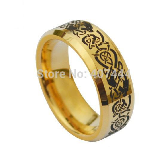 Free Shipping USA UK Canada Russia Brazil Hot Sales 8MM 18K Golden Beveled Dragon Etch Ring Men's Wedding Tungsten Carbide Rings(China (Mainland))