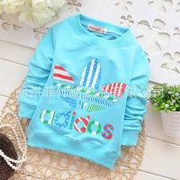 2014 autumn new arrival Children cotton longsleeve tshirt baby girl boy cute flower top lovely Audel kid clothing 4pcs/lot