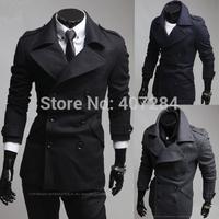 Winter unique epaulette men slim trench outerwear men overcoat