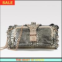 Luxury Genuine Leather Women Messenger Bag Snake Pattern Alligator Eva Clutch Chain Hasp Crystal Crossbody Desigual B238