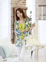Free shipping,0168 Fashion seven point sleeve no buckle large flower printed slim suit
