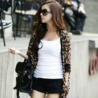 2014 leopard chiffon shawl sun protection clothing was thin loose long-sleeved cardigan thin coat free shipping wholesale