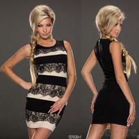 2014 NEW Fashion Novelty Lace Women Sleeveless Fashion Bodycon Fitted Mini Casual Summer Zipper Sexy Dress 5456