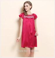 100% mulberry silk pajamas solid dye silk dress lace style silk dress