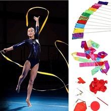 4M Gym Dance Ribbon Rhythmic Art Gymnastic Streamer Twirling Rod Stick 11 Colors(China (Mainland))