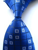 New Classic Geometric Blue Black White JACQUARD WOVEN 100% Silk Men's Tie Necktie A174
