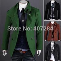 Autumn men short design double breasted woolen trench coat men  outerwear men overcoat