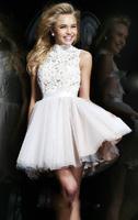Fashion New Lace Short Evening dress Halter Sexy Backless White prom dresses vestido de festa party dresses robe de soiree E3
