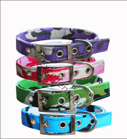 blue/green/pink/white camouflage dog's collar to fit up to 25-39cm neck pet ollar