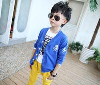 2014 New Cotton Boy Sweater Autumn Kid's Clothing Button V-Neck Long Sleeve Kid Skull Cardigan Boys 3-8 Yrs free shipping