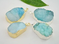 4pcs Silver / Gold plated Turquoise Blue Quartz Druzy Stone Pendant,  Natural Crystal Drusy Gem stone Pendant for Necklace