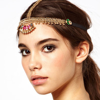 2 pieces/lot Fashion gold head jewelry crystal hair jewelry for women wedding headpiece bridal hair chain hair band accessories