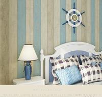 Blue stripe wallpaper rolls, Wood wallpaper striped blue, Mediterranean style wall paper roll for walls