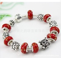 Free shipping   European Style Silver Animal Charm Bracelet Women with Red  Glass Beads Fashion   leather bracelet  loom bands