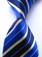 New Classic Striped Blue Yellow JACQUARD WOVEN 100% Silk Men's Tie Necktie A176