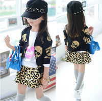 Retail 2014 Punk Kids Clothes Sets Fashion Skeleton Long Sleeve Motorcycle Jacket&Leopard Printed Skirts Girls Clothing Sets C30