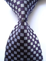 New Classic Geometric Purple Gray JACQUARD WOVEN 100% Silk Men's Tie Necktie A177