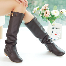 2014 New women's boots  Autumn&Spring  Low-heeled knee-high boots  Fashion&Sweet  PU lady shoes  Big size 34-43,XWX619(China (Mainland))
