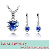 Little Heart Luxury Crystal Jewelry Set Necklace&Pendant Drop Earrings  Set Fashion European Statement Jewelry 2014