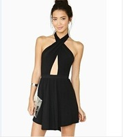 The 2014 European temperament sexy cross chest wrapped chest back Halter Dress