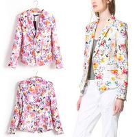 New Trendy Elegant Ladies Floral Flower Print Slim Jacket Suits Blazer Coat Tops