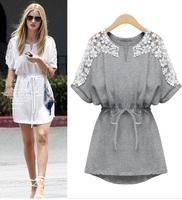 new 2014 fashion brand plus size  women summer casual cotton dress sexy white lace dresses 2Color 5size XL-XXXXXL 3556