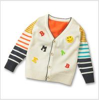 Boutique 2014 Autumn New Stripe Patchwork V-Neck Children Boys Cashmere Sweater Cardigan 4pcs/lot Wholesale