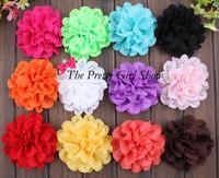 "4"" Eyelet Flowers Eyelet Chiffon Flowers wholesale Flowers DIY Photography Props 60PCS/LOT"