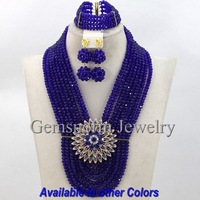 Royal Blue Nigerian Wedding Bridal Jewelry Set Chunky African Beads Jewelry Set Brides Gift Free shipping GS262