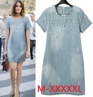New 2014 Summer Casual Women Dress Fashion Denim Jeans Dresses Vestidos Cotton Dresses Plus Size M-5XL Women Clothing c19-c