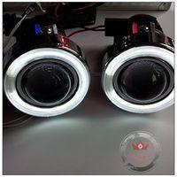 Free Shipping!! HID Ready Projector Fog Lights w/ Halo CCFL Angel Eyes+ 2pcs H3 Halogen Bulbs