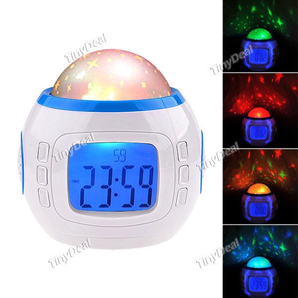 "Fashionable 2.0"" LCD Music Starry Star Sky Projection Alarm Clock/ Calendar/ Thermometer Desktop Clocks, Music Player, Alarm(China (Mainland))"