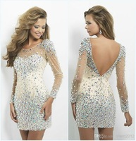 2014 New Arrival Elegant Sexy Beaded Short See Through Long Sleeve Homecoming Dresses