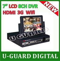 2014 New 7 inch LCD DVR 8 channel HDMI H.264 cctv 8ch Full D1 DVR Recorder 8CH DVR recording video surveillance cctv system