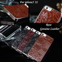 5s genuine leather  case  Rose Back cover For apple iphone5  IPHONE5S Luxury Shell  5th 5G phone CASE Cool Free Stylus Pen