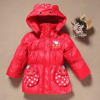 Top Children down coat fashion Girls jacket fashion baby kids winter medium-long Parkas red children outerwear Size 100-120