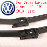 "Free shipping car wiper blade For Volkswagen vw Cross Lavida size 22"" 19"" Soft Rubber WindShield Wiper Blade 2pcs/pair deflector"