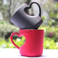 Thermal transfer matte peach heart-shaped handle mug cup color coated changeable cups DIY customized Pictures mug Free Shipping