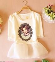 Royal beauty women print short one piece dress 2014 fashion elegant vintage gentle girl princess chiffon dress with Peplum