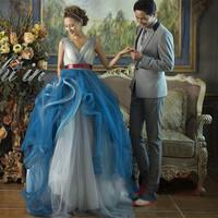 D86 vestido de noiva 2014  fashionable  v neck red sash tiered blue wedding dress  princess bridal ball gown