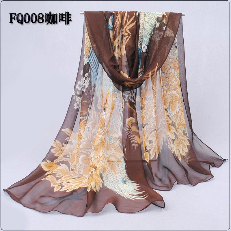 2014 Wholesale Fashion New Design Peacock & Flower print silk scarf/50*160cm/WJ-280(China (Mainland))