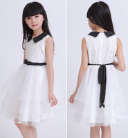 New 2014 summer  girl dress, lace voile dresses for kids,girls clothes, sleeveless,white color , Free Shipping