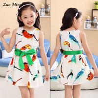 2014 new summer birds children's princess girls dress & children's clothes, cartoon dress Size(US):4T - 12 free shipping