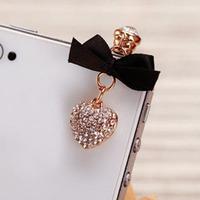 Brief And Elegant Full Crystal Love Heart Pendants Phone Dust Plug Korea Ribbon Heart Dust Plug For USB Part SP034